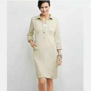 J. Jill Live In Chino Tunic Tan Shirt Dress